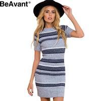 BeAvant Knitted blue striped bodycon dress Autumn winter short sleeve women dress 2016 Sexy evening party sexy dresses vestidos