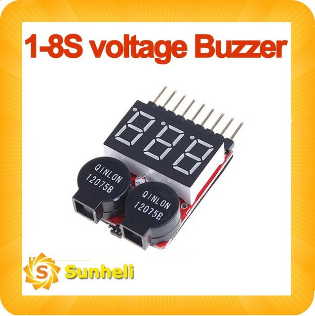 10pcs Lipo Battery Voltage Tester volt meter monitor checker Dual Speaker 1S-8S Low Voltage Buzzer Alarm 2 IN1
