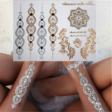 Body art style chain gold temporary tattoo tattoo waterproof temporary tattoost tattoo tattoo tattoo flash metal jewelry