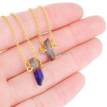 Women jewelry gold plated blue irregular crystal pendant necklaces fashion natural stone double layer chain necklace