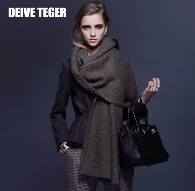 DEIVE TEGER 2015 hottest fashion cashmere scarf 65~200cm knitted practical brown solid high quality poncho pashmina DT004(China (Mainland))