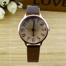De la mujer moda correa de cuero de imitación dígitos grandes estilo reloj de pulsera analógico vestido relojes de pulsera 0SL4