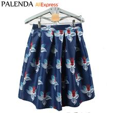 palenda 2016 new fashion A-line printed flower skirts vintage blue color knee length high waist beautiful lady elegant style