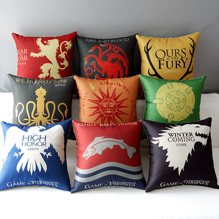 """18"""" Square Game of Thrones Cotton Linen Cushion Cover Ikea Art Decorative Throw Pillow Home Sofa Car Chair Pillow Case HD332(China (Mainland))"""