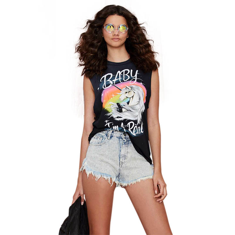 2015 SUMMER WOMEN TANK TOP PRINT LETTER BABY HORSE TOPS VEST LADY CLOTHES BLUSAS FEMININAS HD643 - YES-Fashion store