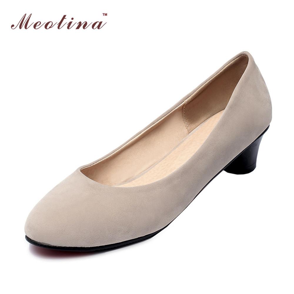 Women Shoes Round Toe Low Heels Thick Heels Causal Shoes Ladies Shoes Classics Pumps Blue Black Beige Big Size 34-43