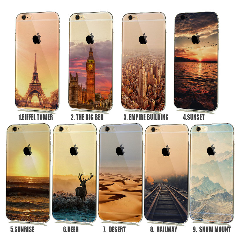 Soft Natural landscape Rubbery Phone Case for iphone 6 6s 5 5s Silicone Cover Effiel Tower Paris London City Capinhas para(China (Mainland))