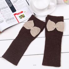 2015 Fashion Casual Women solid color fingerless knitted long gloves mittens cute bowknot high quality woolen arm warmers(China (Mainland))