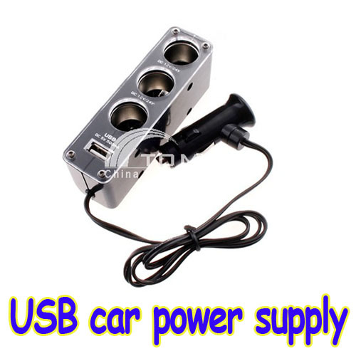 Triple 1 to 3 Socket + USB car Power Supply Car Charger free shipping dropshipping(China (Mainland))