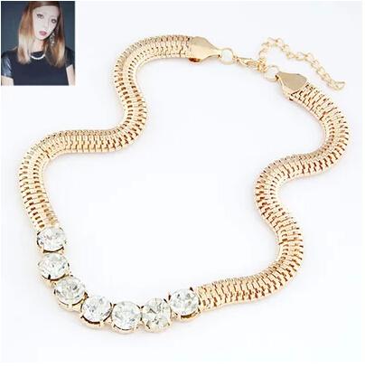 new fashion jewelry punk coarse snake chain women Hot rhinestone bling collar short round crystal necklace female - ABC Mall store