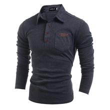 Polo Shirt for Men ralph Golf Shirt European Long Sleeve Male Slim Fit Ralphmen Gray White Cotton 2016 Summer