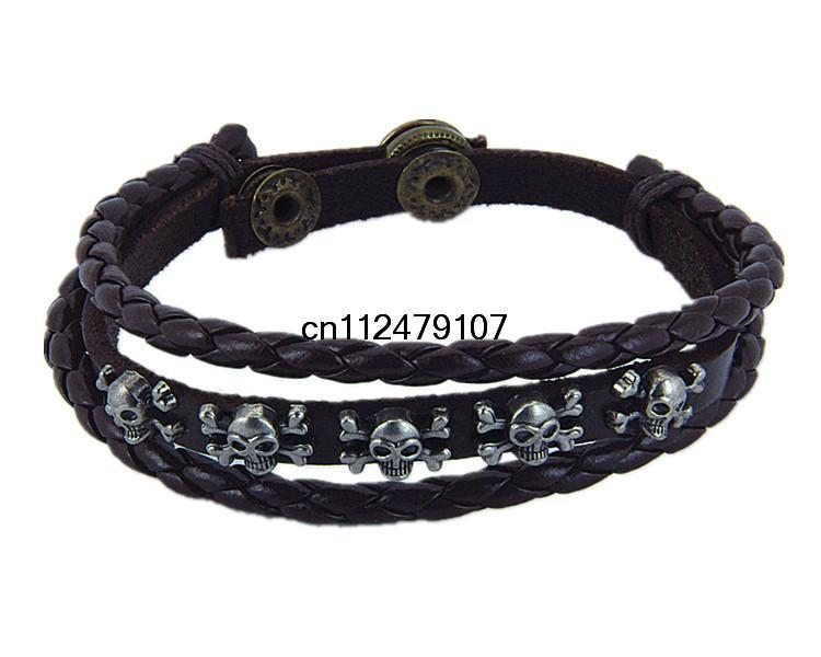 New 2015 Fashion Punk Pirates of the Caribbean Skulls Men's/Women's Feather Hand Braided Black / Brown Bracelet(China (Mainland))