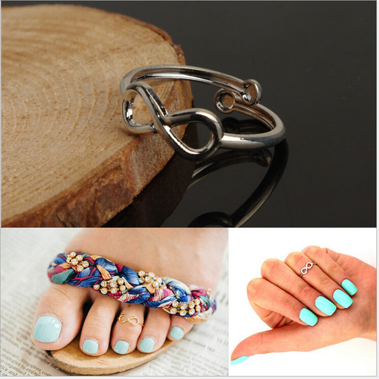 New Vogue Nice Chic Simple Silver/Gold Tone Infinity Summer Beach Toe Ring(China (Mainland))