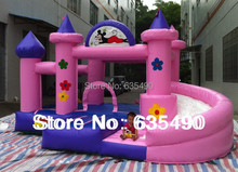 pink and blue inflatable castle, inflatable bouncer and slide combo or baby+ blower and free shipping(China (Mainland))