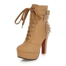 WETKISS Plus Größe 34-48 High Heels Dicken Stiefel Frauen Lace Up Runde Kappe Pu Niet Boot Weibliche Besetzt plattform Schuhe 2020 Winter(China)