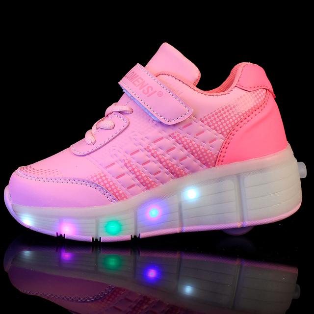 Новый 2016 Jazzy Младший Heelys Девушки/Мальчики LED Легкую Обувь, дети Ролик Скейт Обувь Дети Кроссовки С Одного Колеса