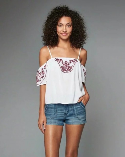 2016 backless crop top Women floral Embroidery sexy off shoulder short tops Summer feminine casual sleeveless tank top R642