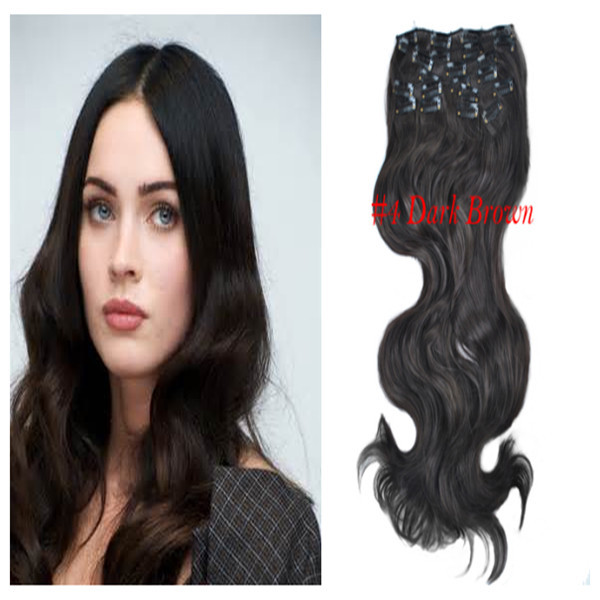 1 Synthetic Clip Woman's Fashion 20 inch150g 24 inch170g Color:Dark Brown Best Selling Long Wavy Hair Extension - wigs & hair extensions store