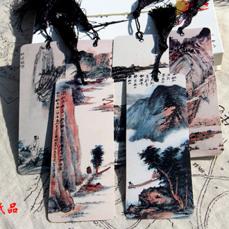 6pcs/lot The Diversified Landscape Classical Creative Vintage Tassel Bookmark Chinese Style Paper Book Marks Business Gift WZ(China (Mainland))