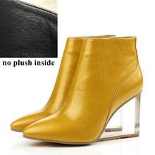 ALLBITEFO size33-41 thương hiệu thời trang phụ nữ khởi động Chính Hãng Da nêm Pha Lê mắt cá chân khởi động phụ nữ giày bên người phụ nữ cao gót giày(China)