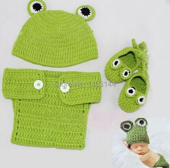 Free Crochet Pattern Newborn Frog Hat : Free shippingToddler Infant Newborn Baby Knit Crochet Frog ...