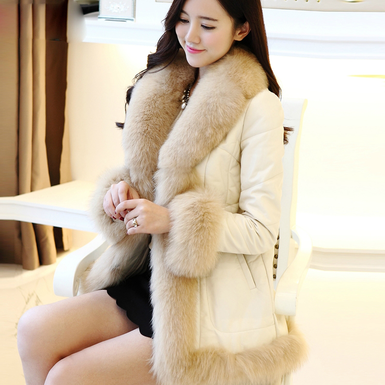 2015 New Phoenix winter women genuine leather coat real fox fur female medium-long sheepskin - store