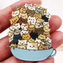 1 pz Cute Cartoon Impilati Gatto Acrilico Spilla Per Le Donne Abbigliamento Distintivo Icone Sullo Zaino Spille Spilli Distintivi e Simboli Bambini regalo(China)