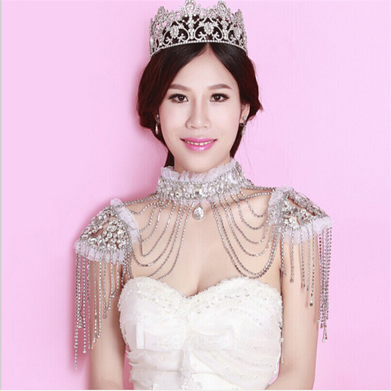 Sexy crystal bead chains jewelry trends 2015 Newest bridal wedding jewelry silver shoulder body chain with lace free shipping<br><br>Aliexpress