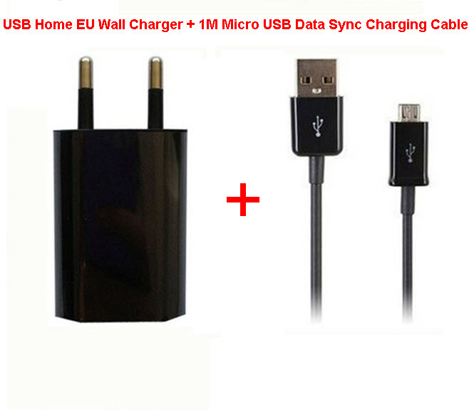 1set USB Home EU Wall Charger + 1M Micro Data Sync Charging Cable Lenovo Samsung Galaxy S5 S4 note 3 Adapter - wonderful Electronic Co., Ltd. store