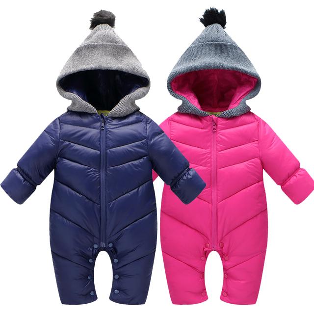Высокое Качество Baby Rompers Зима babys Мальчики верхняя одежда Девушки Теплая Одежда Дети Комбинезон Ребенка утка вниз ползет одежда 0-12 М