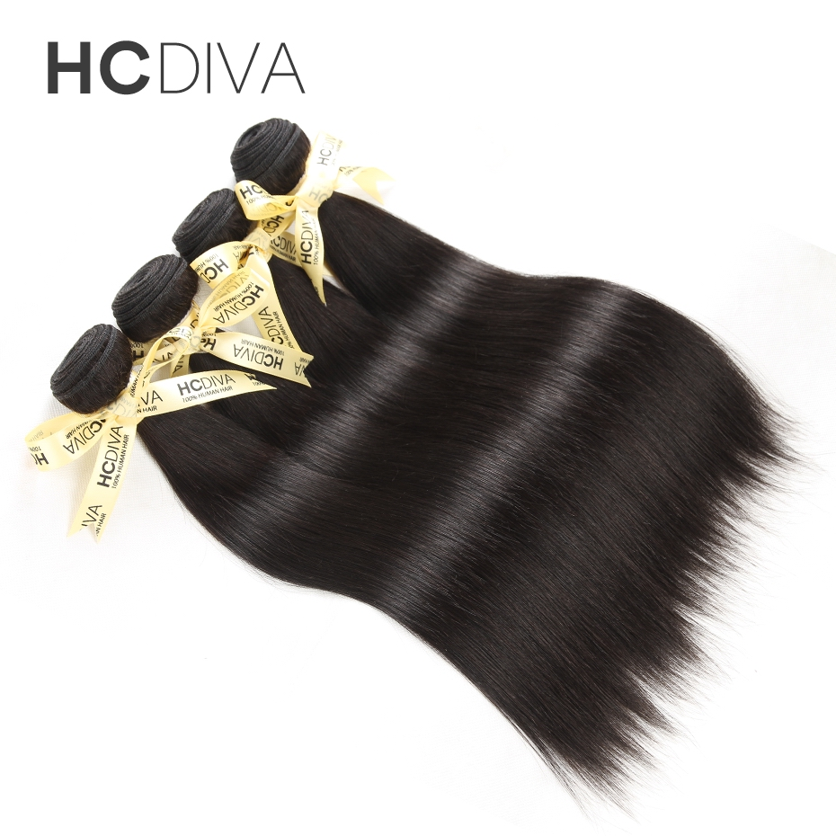 HCDIVA No Shedding No Tangle Straight Brazilian Non-remy Hair Weft 1pc Natural Color 10″-28″ 100% Human Hair Bundles