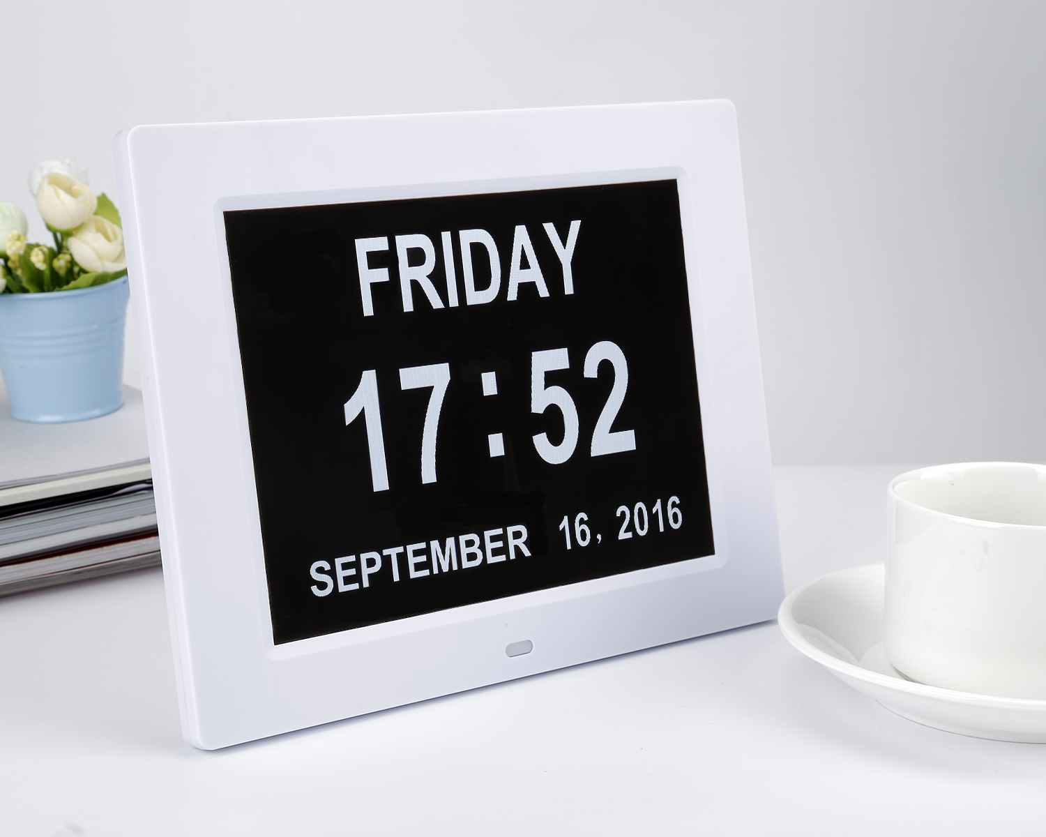 8 inch digital photo frame electronic calendar ABS electronic photo frame can display time calendar support 8 languages