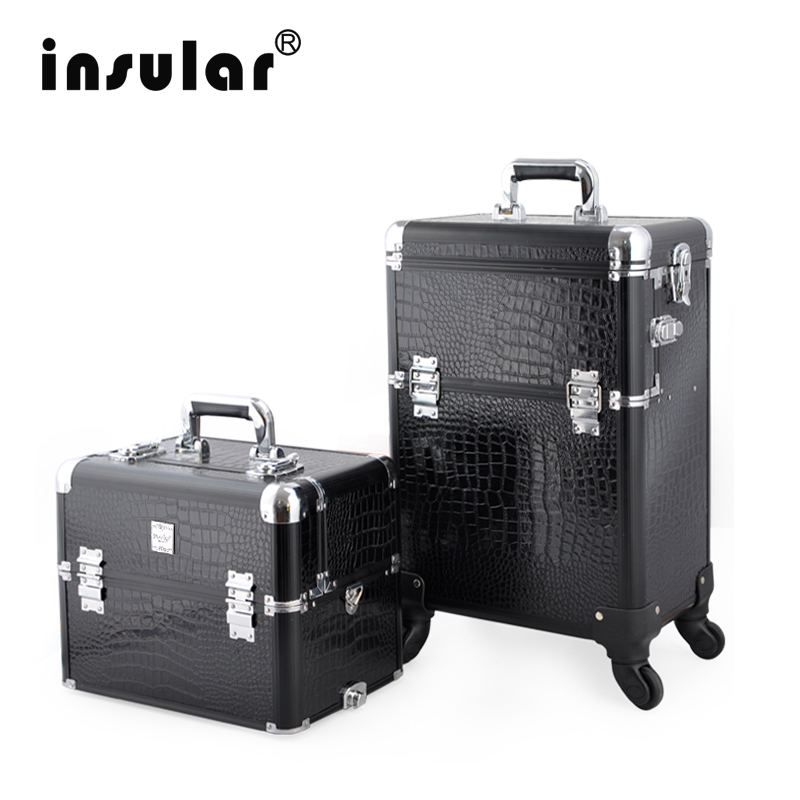 2016 New Arrival Fashion Professional Rolling Makeup Case 2 in1 Multifunctional Trolley Cosmetic Case With 360 Degree Wheel(China (Mainland))