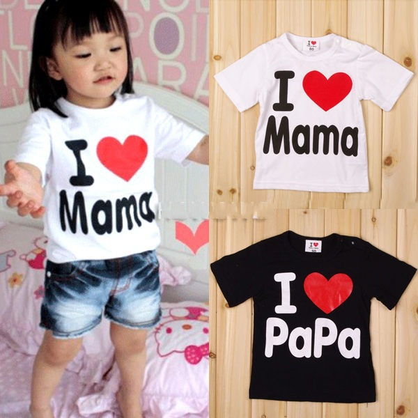 95% cotton children's clothing boys and girls I love Mom and Dad round neck short sleeve T shirt for 1-4 years old baby(China (Mainland))