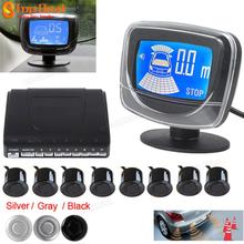 Hot Sale!! Weatherproof 8 Rear Front View Car Parking Sensor 8 Sensors Reverse Backup Radar Kit System with LCD Display Monitor(China (Mainland))