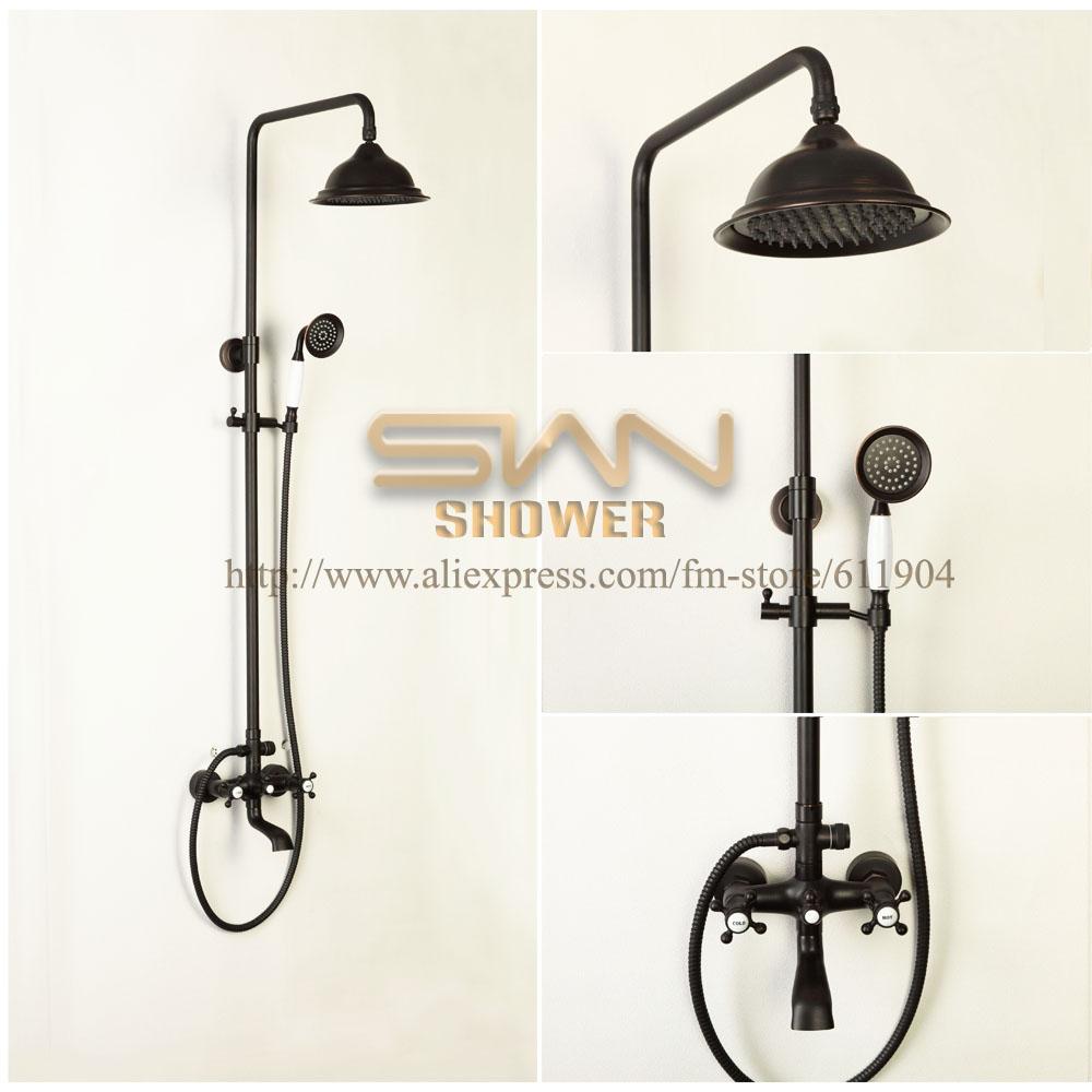 Oil Rubbed Bronze ORB Rain Style Exposed Bathroom Shower Set Ceramic Handheld