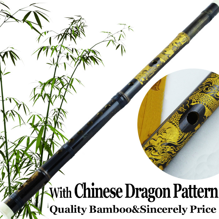 Traditional Chinese Dragon Carved Bamboo Flute Woo...
