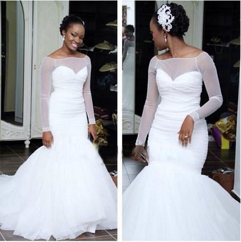 Buy long sleeve mermaid wedding dresses for White wedding dresses with long trains