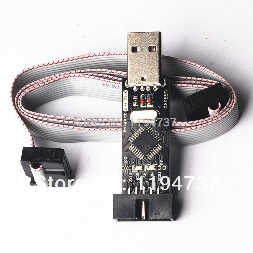 ! 2PCS= USBASP + download cable,USBISP AVR Programmer USB ATMEGA8 ATMEGA128 Support Win7 64K - STIME Electronics Technology Co., Ltd. store
