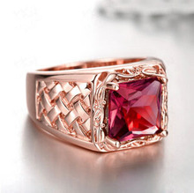 Vintage Weave Pattern Ruby Bride Ring AAA CZ Stone Women Elegant Wedding Ring Luxury Beautiful Square