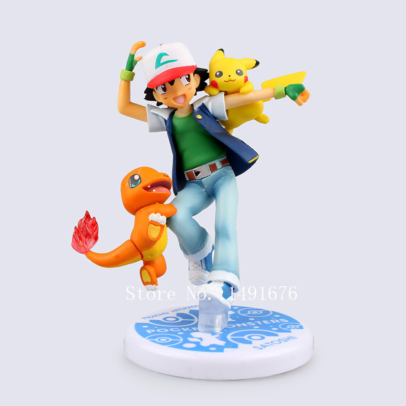 Pokemon Pocket Monster Ash Ketchum and Pikachu 10cm Model Toys font b Anime b font PVC