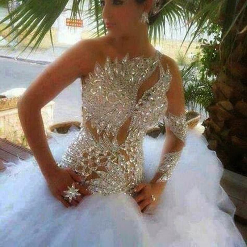 Модные свадебное платье 2015 новый кристаллы из бисера многоуровневое тюль Vestido Noiva бальное платье паффи свадебное платье