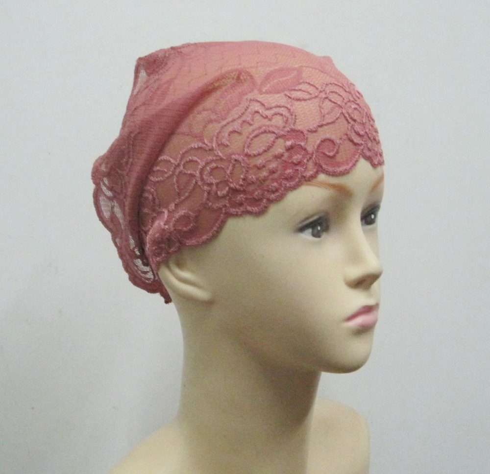 Size 25*31cm Muslim Inner Hat Lace Under Scarf Hijab Bonnet Cap Headwear Islamic Headwrap Under Tube(China (Mainland))