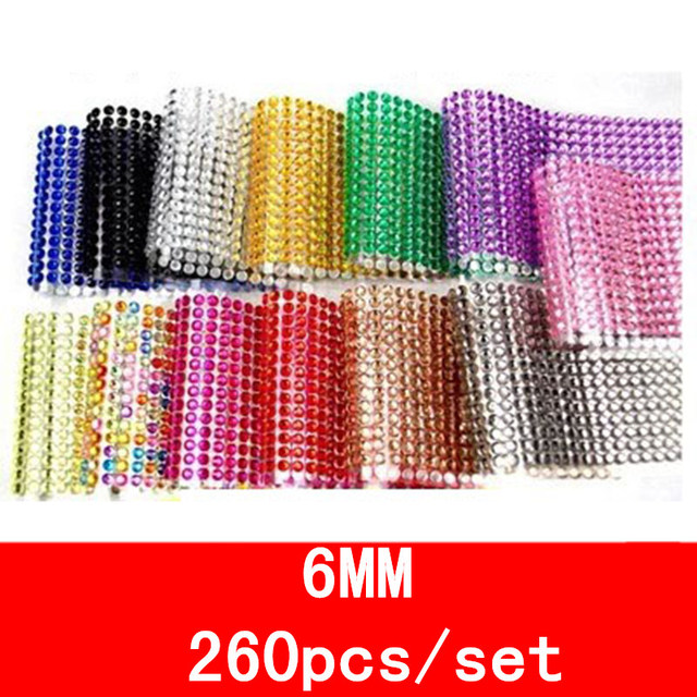 260 pcs /set Children's toys sticker 6mm Mobile Phone Diy decal crystal Diamond Self-adhesive Rhinestones Scrapbooking Stickers