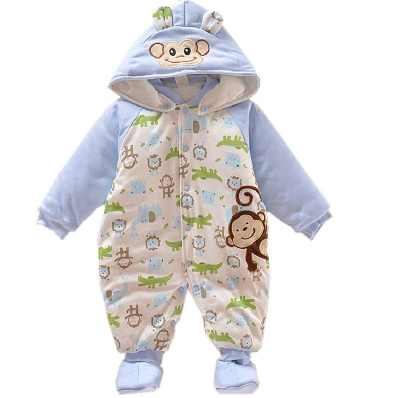 2015 New Baby Boy Winter Warm Rompers Newborn Thickened Horse Overalls Ropa Bebe Snowsuit For Boys Baby Winter Clothes KF053(China (Mainland))
