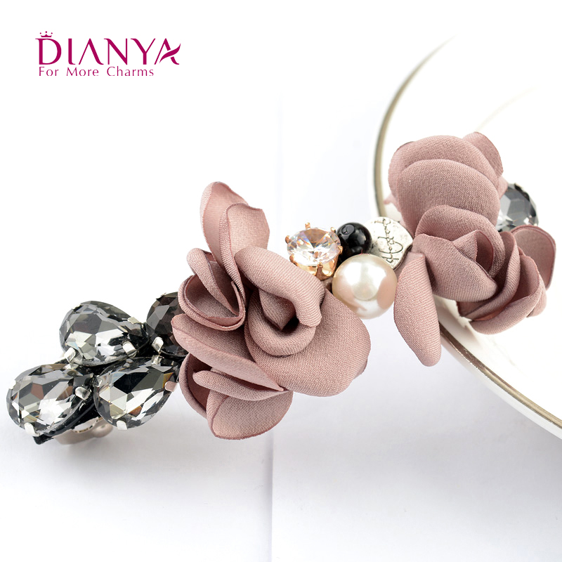 Rhinestone Flower Cloth Hair Barrette With Pearls Zolly Hair Clips for Women Korean Floral Accessories Headwear 2016 Hot Sale(China (Mainland))