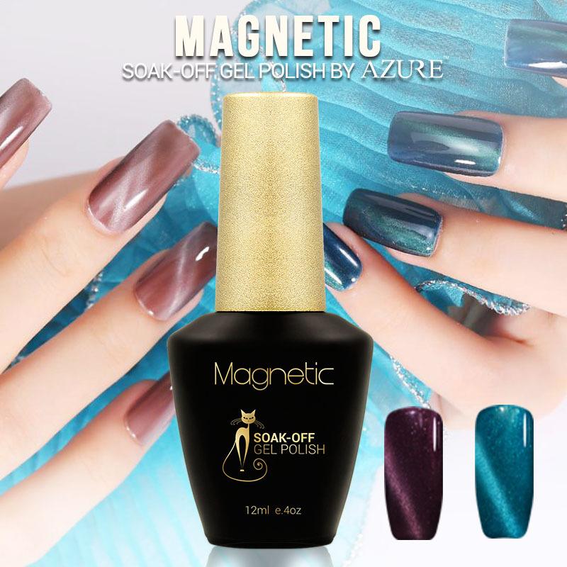 Brand Azure magnetic color gel Nail Gel Polish 48 Colors nail Art Makeup Manicure soak off UV gel polish Free Shipping(China (Mainland))