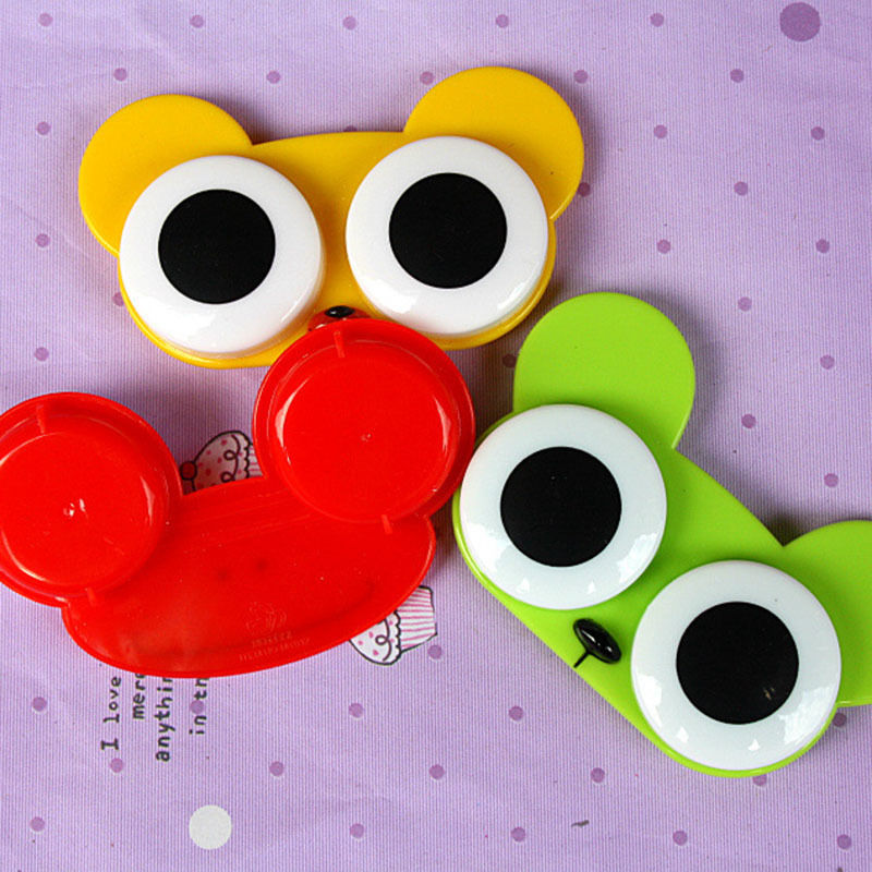 Cartoon 3D Big Eye Owl Frog Animal Shape Contact Lens Case Holder Soak Storage