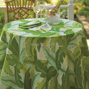 178cm Round 100% Polyester Banana Leaf Printed Round Home Dining Tablecloth Outdoor Table Cover With Waterproof And Oilproof