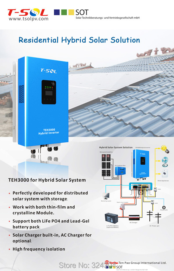 Grid Hybrid Solar Inverter with Built-in MPPT/ PV Single phase Charger and( Optional WiFi Function US50) 3000W(China (Mainland))